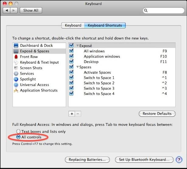 mac tab key dialog navigation