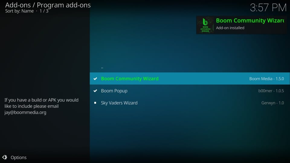 how to    to install boom build on kodi