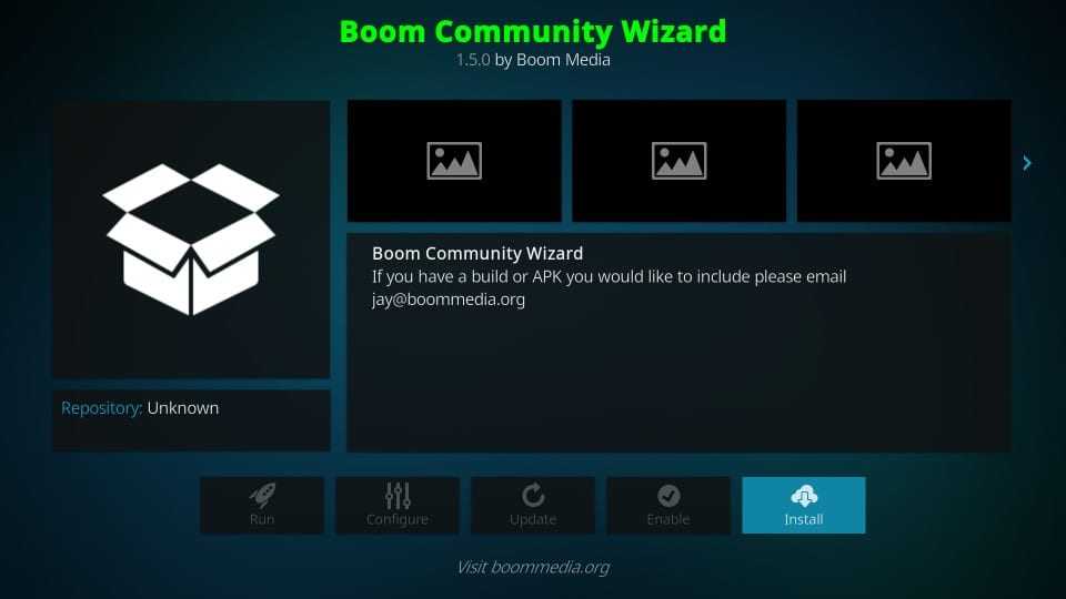 how to    to install boom community wizard
