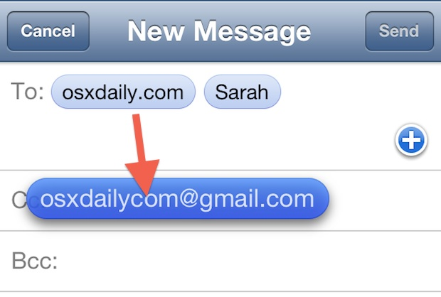 Move email recipients quickly in iOS Mail app
