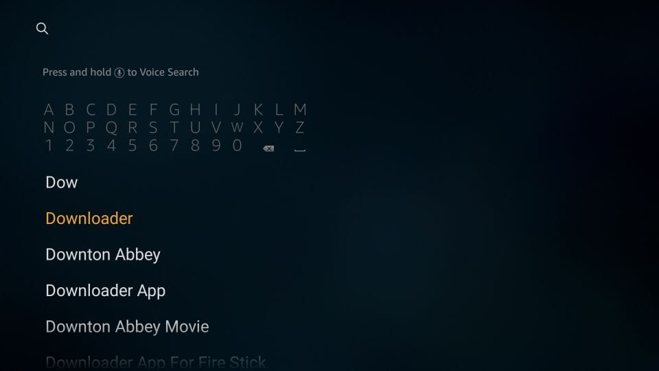 search for the downloader app