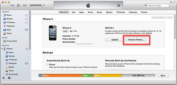 Restore iPhone from a backupup in iTunes