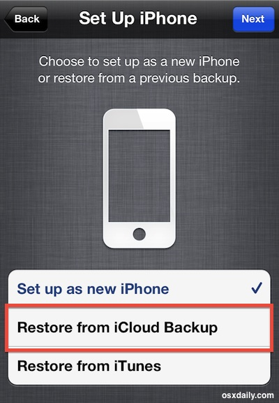 Restore an iPhone from iCloud Backup