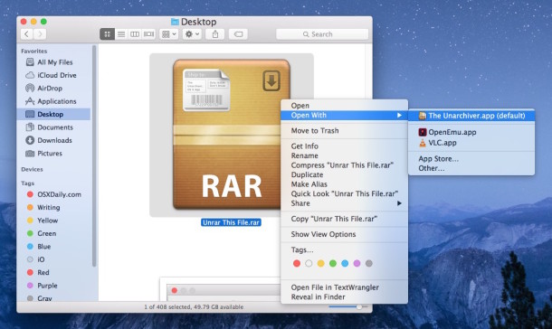 Extract and extract a RAR file with Unarchiver