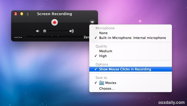 Screen capture in Mac OS X options
