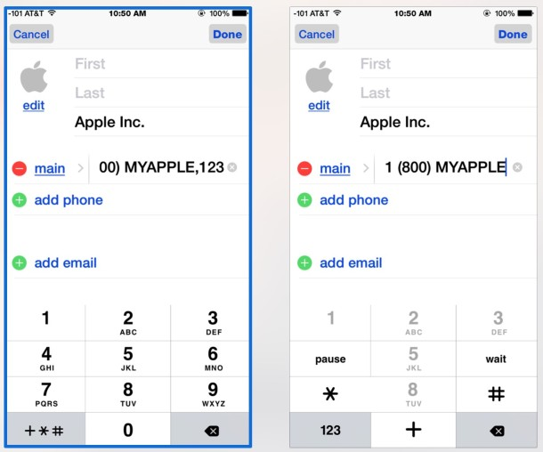Add an auto-dial extension to a contact number on iPhone
