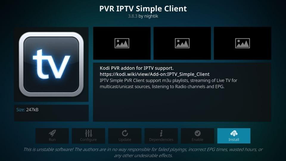 use pvr iptv simple client on kodi