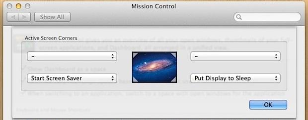 Lock the screen with Hot Corners in Mac OS X