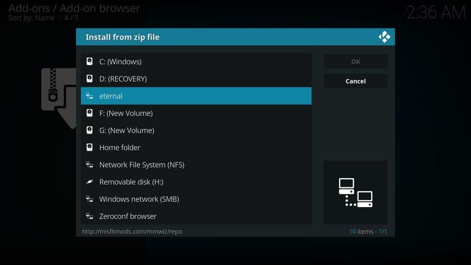 download eternal TV addon on kodi