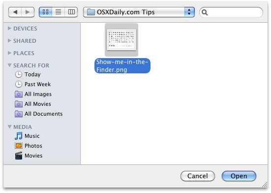 Reveal the item's Finder location in the Open and Save dialog box