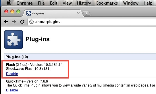 Disable the Flash plugin in Google Chrome