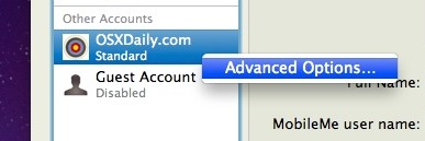 advanced options for accounts in mac os x
