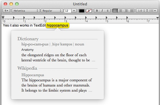 Three Fingered tap displays a dictionary in Mac OS X Lion