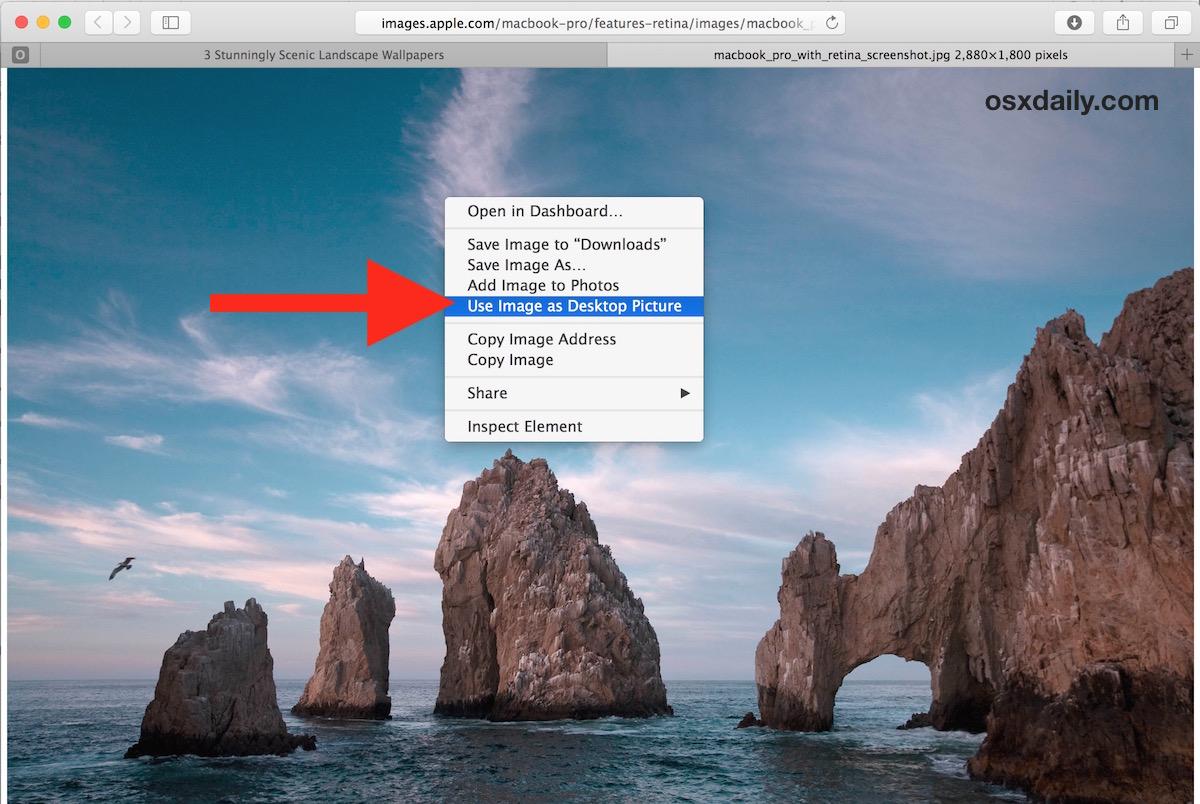 Set Mac wallpaper from Safari