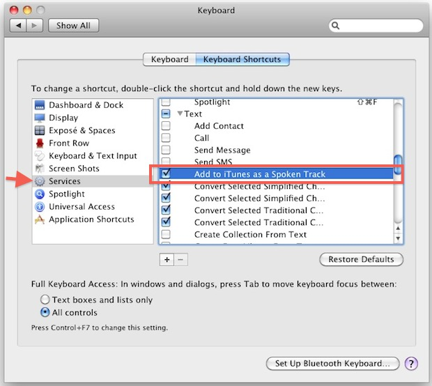 Enable text files for spoken audio in services