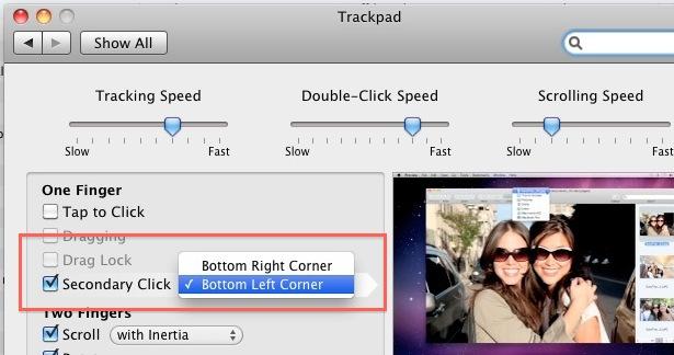 Secondary left corner click on a Mac