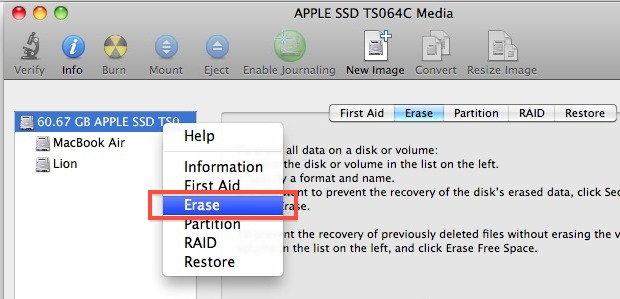 Erase a disk with Disk Utility