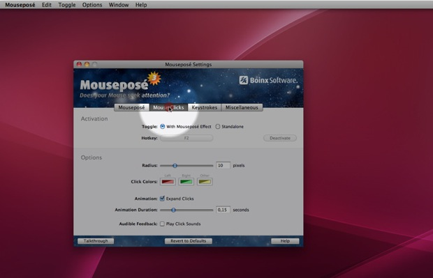 Mousepose makes the mouse more visible for presentations