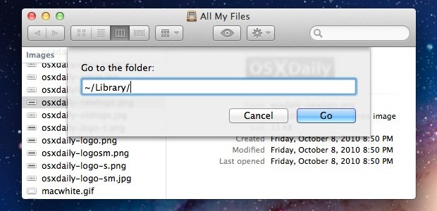 Open the User Library folder in Mac OS X Lion