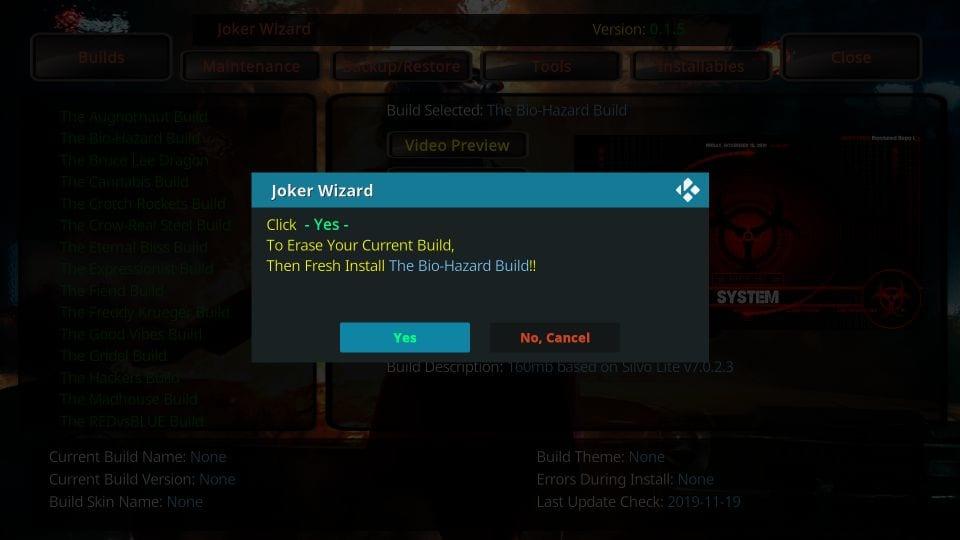 joker buid wizard warning for installation