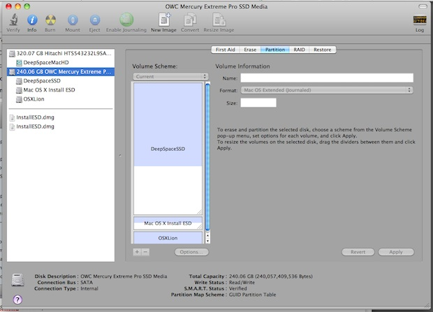 Create a Lion installation partition for use in target disk mode