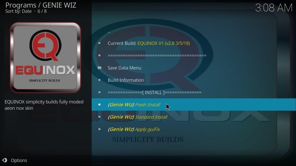 fresh installation equinox kodi build