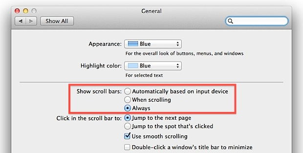 How to    Show scroll bars in Mac OS X