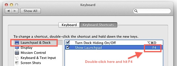 Assign LaunchPad to F4 on an older Mac keyboard