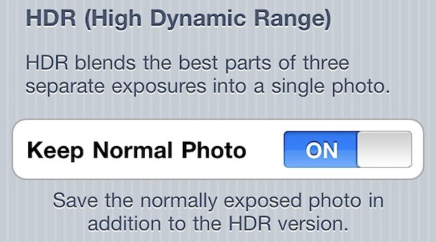 Prevent iPhone HDR from taking and saving two photos