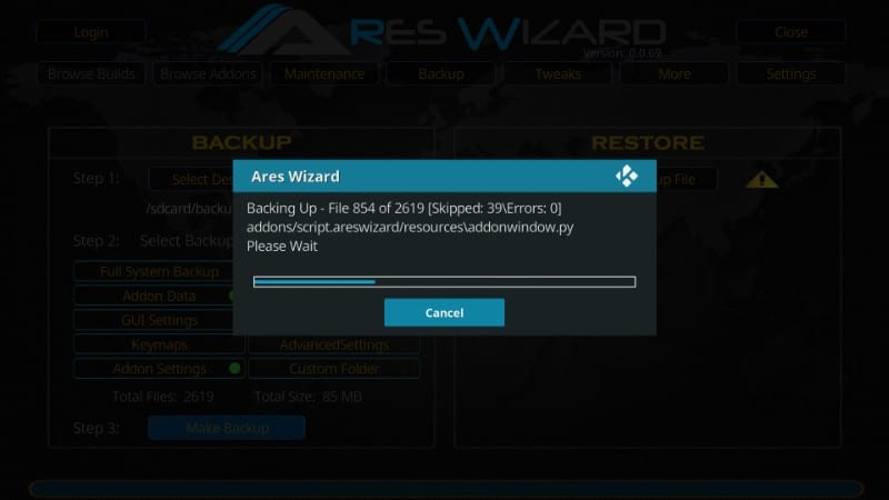 back-up kodi with ares wizard