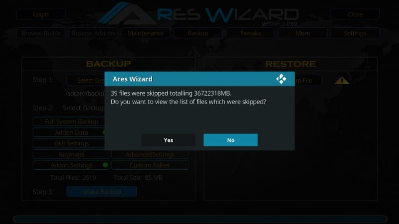 wizard ares backup