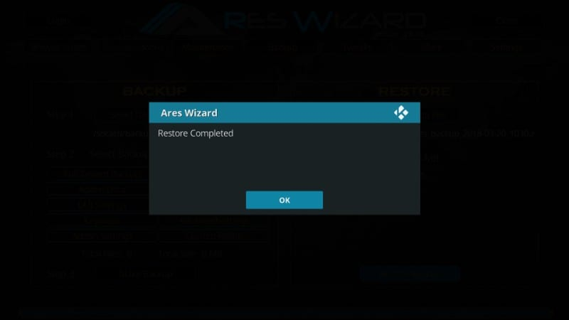 how to    kodi-back-up restore with the Ares Wizard