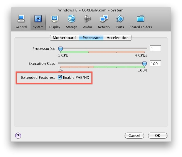 Windows 8 configuration for VirtualBox