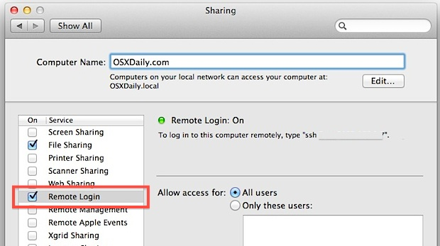 Enable SFTP server in Mac OS X