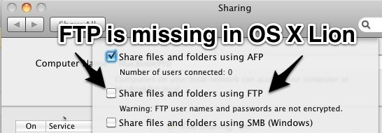 FTP server is missing in OS X Lion, but you can enable it anyway