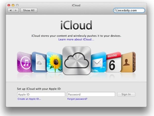 iCloud Setup for Mac OS X 10.7.2