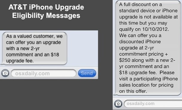 IPhone Upgrade Eligibility Messages