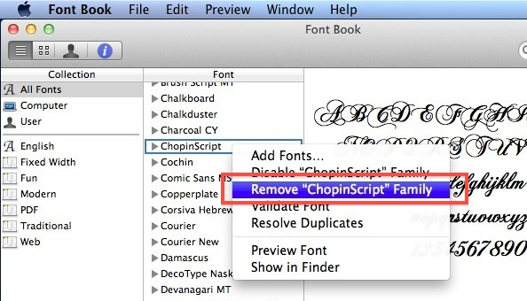 delete fonts from Mac OS X
