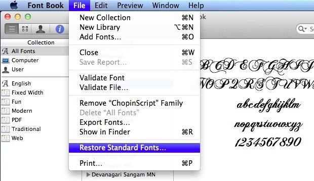 Restore default Mac fonts