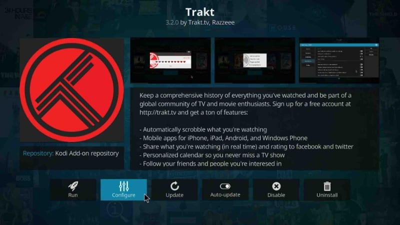 here's how to configure a treat account on kodi