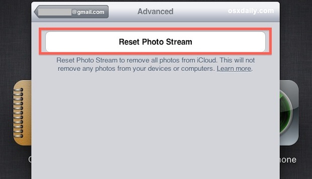 Reset Photo Stream and iCloud to delete images