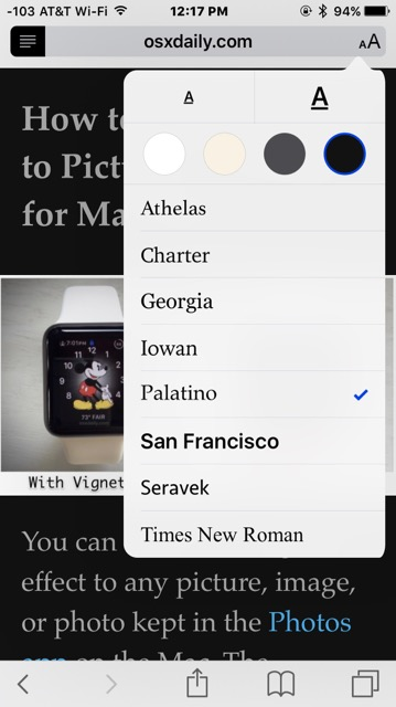 Customize the look of Safari Reader with font size and font changes and background color