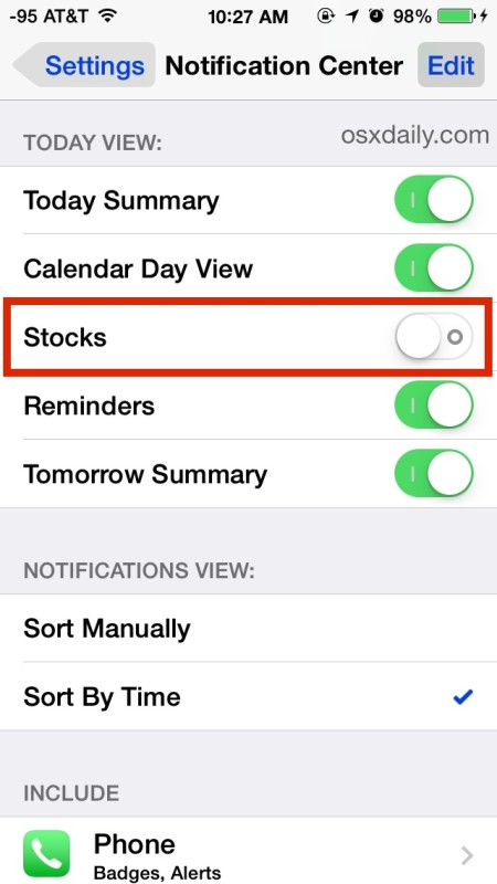 Hide stocks completely in the notification center