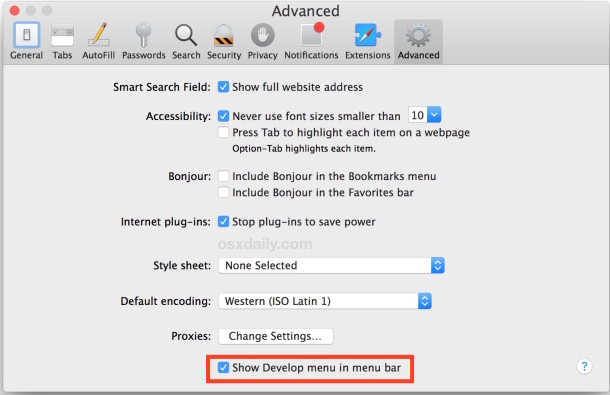 Enabling the develop menu in Safari allows users to manually clear and empty caches in OS X