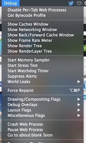 Safari debugging menu in OS X
