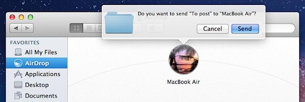 Send a file via AirDrop in Mac OS X