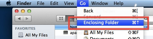 Quickly go to the parent folder in Mac OS X