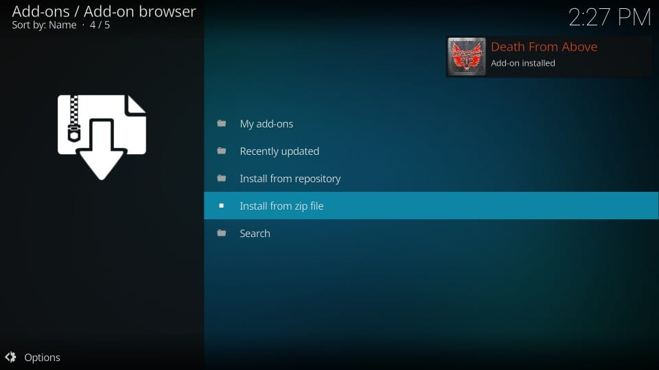 how to    install death from above kodi addon