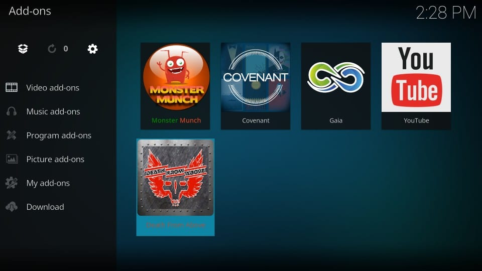 how to    use death from above kodi addon