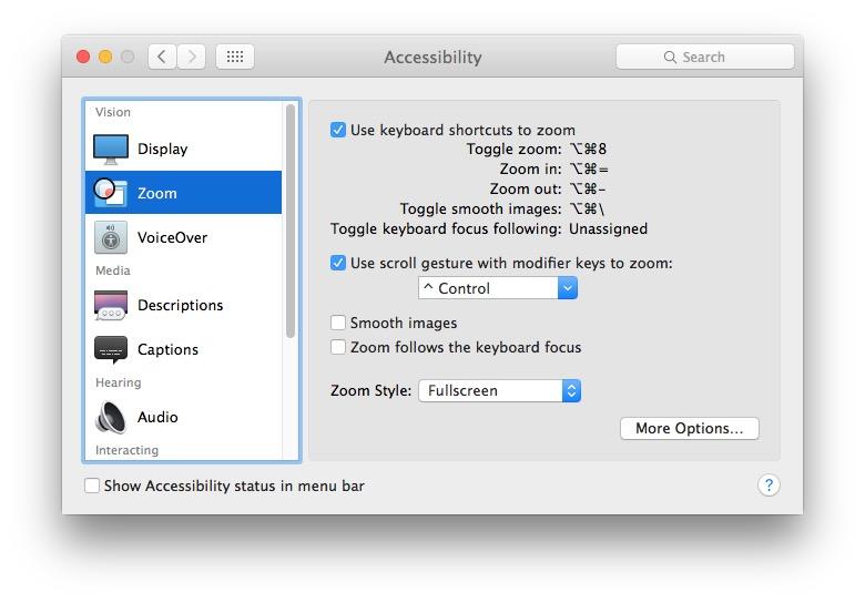 Screen zoom in Mac OS X